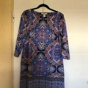 Adorable 3/4 Sleeve Paisley Shift Dress 💜